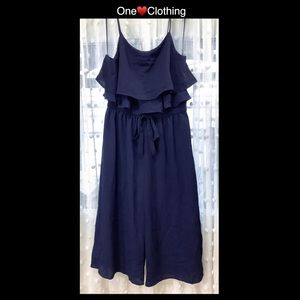One ♥️ Clothing Large Navy Blue Romper